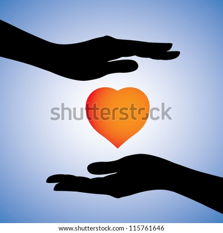 Concept illustration of protection of heart from disease & illness. The graphic can also be used to show safety from emotional heart-break. The graphic has 2 female hands protecting a heart symbol.