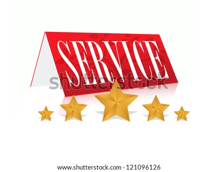concept illustration of 5 star service over white