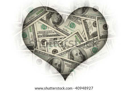 "concept image: ""I heart money"" or ""I love money""."