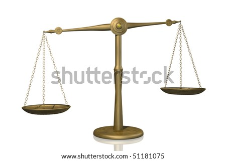 Concept image of a balance shown with a scale isolated on a white background.