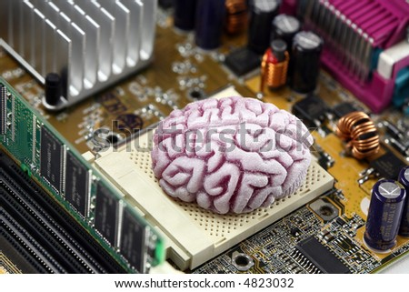 Concept image of a brain acting as the CPU on a computer motherboard.