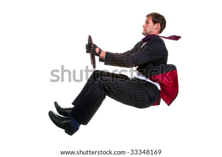 Concept image of a businessman driving a car that is 100% environmentally friendly! Isolated on a white background.