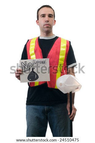 Concept image of a garbage cleanup person holding a sign that says no litter