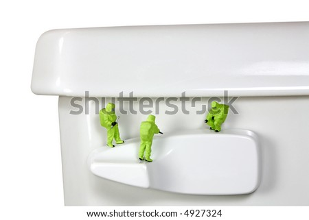 Concept image of a HAZMAT (Hazardous Materials) team inspecting the germs and bacteria on a toilet handle. White background. - stock photo
