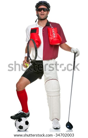 Concept image of a sportsman wearing various different sporting kit and equipment, isolated on a white background. - stock photo