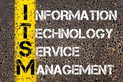 Concept image of Business Acronym ITSM as INFORMATION TECHNOLOGY SERVICE MANAGEMENT written over road marking yellow paint line.