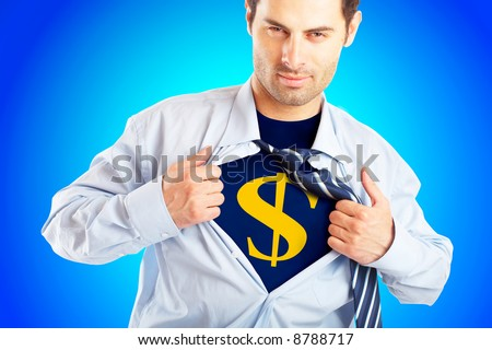 Concept image of Business Superhero pulling open shirt to reveal Dollar Sign