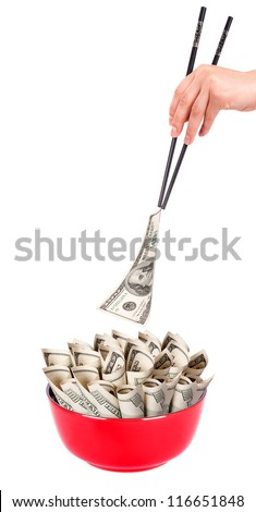 Concept image of food money - red plate full of money and Chinese chopsticks isolated