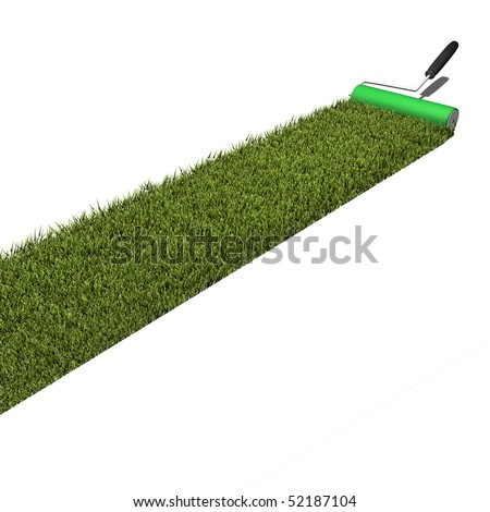 Concept image of green grass being applied by a paint roller isolated on a white background.