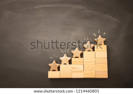 concept image of setting a five star goal. increase rating or ranking, evaluation and classification idea. Top view. Flat lay #1214460805