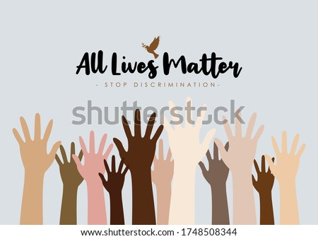 Concept image of the All Lives Matter socio-political peace movement to stop black lives matter demonstration in the American USA US and to stop discrimination and racism in society Zdjęcia stock ©