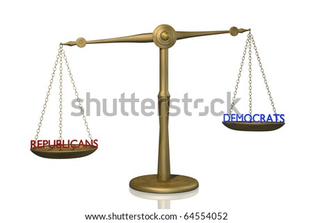 Concept image of the balance between Republican and Democratic control.