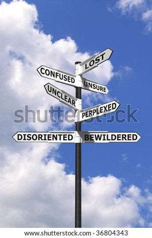 Concept image of words associated with being Lost and Confused on a  signpost against a blue cloudy sky.