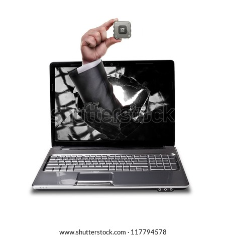 CONCEPT. laptop with broken screen and hand hand holds the processor CPU isolated on white background High resolution