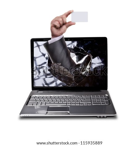 CONCEPT. laptop with broken screen and hand  isolated on white background