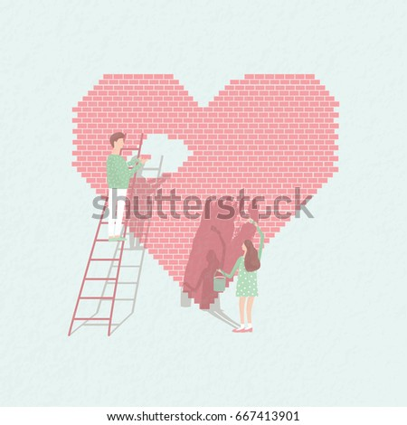 Concept love is work . Couple in love build relationships. Cute guy and girl on the background of brick heart. cartoon illustration