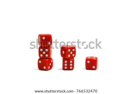 concept luck - red dice on each other on white background #766532470