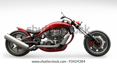concept motorcycle isolated on white background (No trademark issues is my own design) High resolution 3D