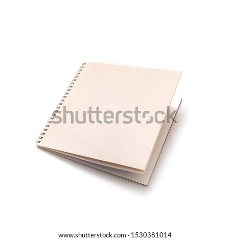 Concept notebook with blank cover and blank pages isolated on white background