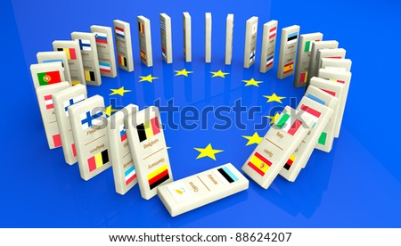 Concept of a European financial crisis, created with dominoes tiles with all the European community countries. The start of a disaster has begun...