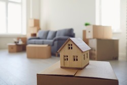 Concept of a new home apartment housing real estate purchase lease sale investment mortgage.