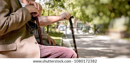 Concept of a retirement age - pensioners, friends sitting in the park and resting #1080172382