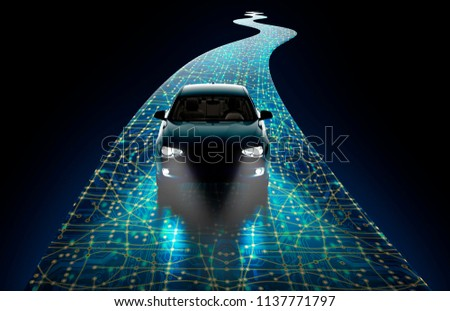 concept of a self-driving modern car ,  3d illustration Stockfoto ©