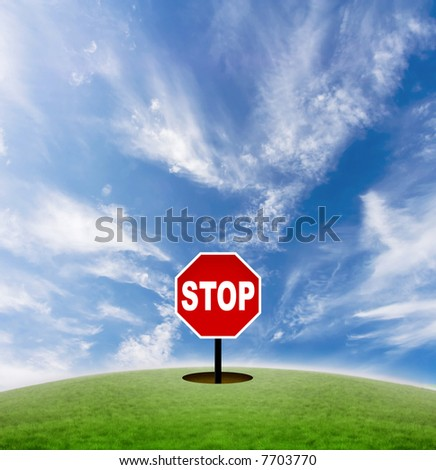 Concept of a stop sign in the middle of nowhere. Signifies the pace of modern life.