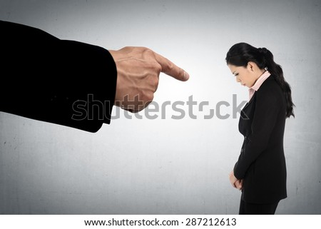 Concept of accused business woman with fingers pointing Stockfoto ©