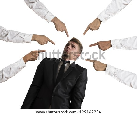 Concept of accused businessman on white background