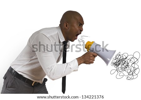 Concept of angry businessman with megaphone