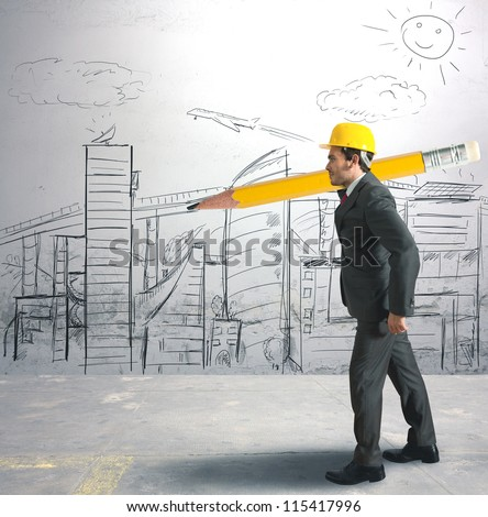 Concept of architect and  his sketches