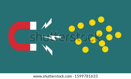 Concept of attracting investments. Red and blue horseshoe magnet sign attract golden coins