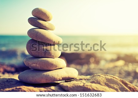 concept of balance and harmony. rocks on the coast of the Sea in the nature Foto d'archivio ©