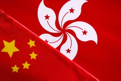 Concept of bilateral relationship between China and Hong Kong showing with two flags