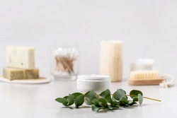 Concept of bodycare and skincare cosmetics. Selective focus on moisturizing and pampering face cream near green eucalyptus plant against white copy space background in bathroom