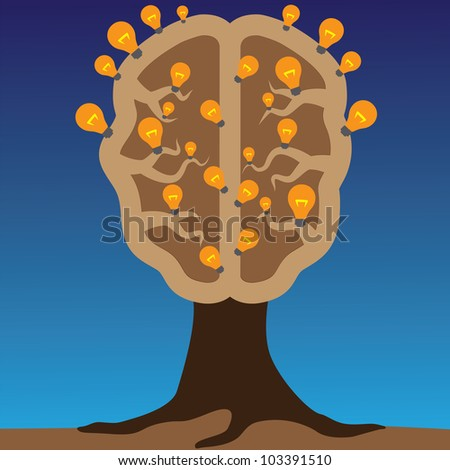 Concept of brain as a tree with bulbs as solutions to problems. Concept of using brain to create great ideas to solve human problems.
