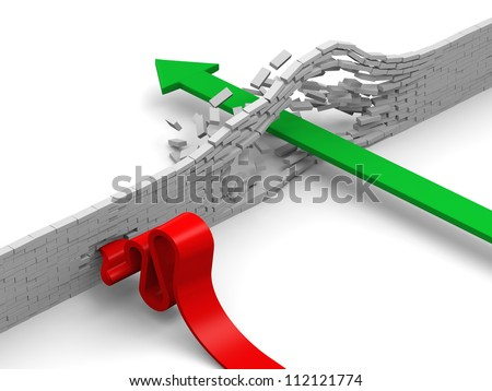 Concept of breaking through obstacles, or failing illustrated by green and red arrows overcoming brick wall