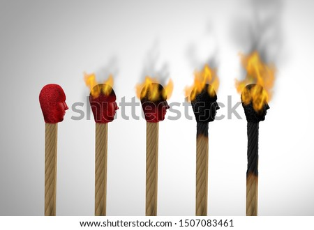 Concept of burnout or career burn out and business stress and burnt from exhaustion as a match icon of an employee exhausted as a work or life concept for overloaded workers as a 3D illustration.