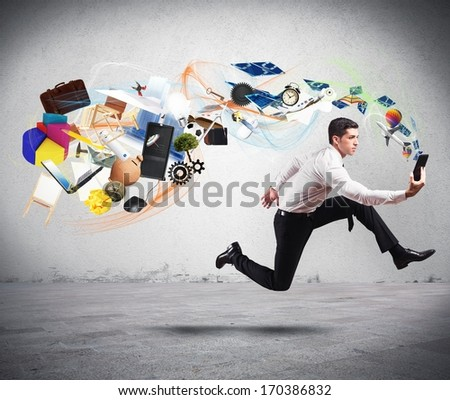 Concept of business creativity with running businessman and tablet