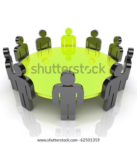 Concept of business meeting(green)