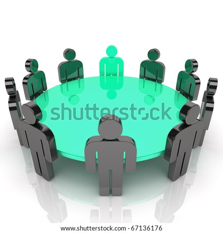Concept of business meeting with guys (green blue) - stock photo