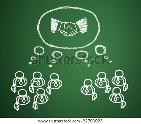 Concept of business people who have a need for cooperation in joint venture and sales.