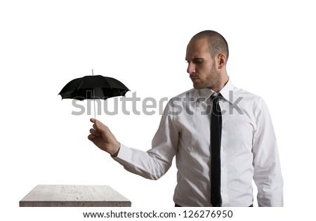 Concept of business protection with umbrella