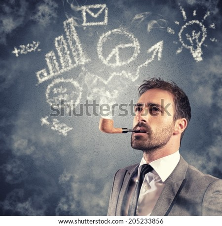 Concept of business vision with sketch made of smoke