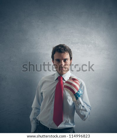 Concept of businessman ready to fight