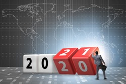 Concept of changing year from 2020 to 2021