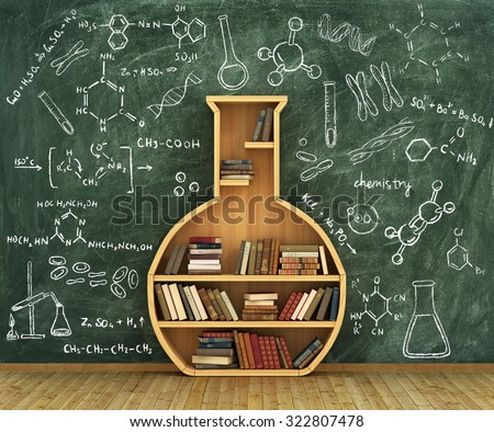 Concept of chemistry. Bookshelf full of books in form of test-tube with chemistry draw on whiteboard.