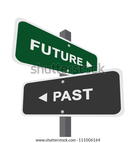 Concept of Choices Present By Two Way Street Sign Pointing to Future and Past Isolated On White Background
