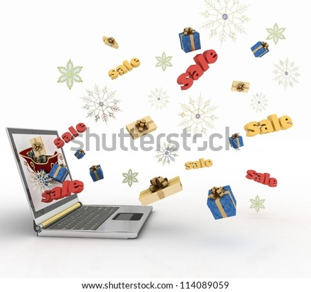Concept of Christmas online shopping. 3d illustration.